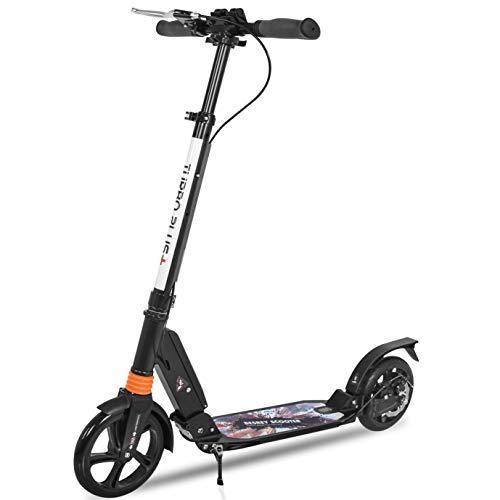 Besrey Big Wheel Scooter Tret-Roller City-Scooter ab 8 Jahre mit Big 205mm Wheel mit XXL Trittbrett, Vollfederung und Handbremse für Kinder und Erwachsene