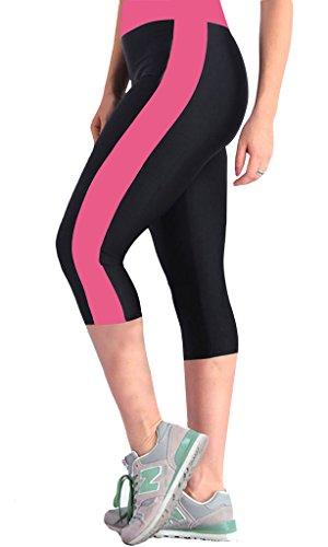 iLoveSIA® Damen Caprihosen zweifarbig Sport leggings Capri Tights 3/4 Schwarz+Rosa