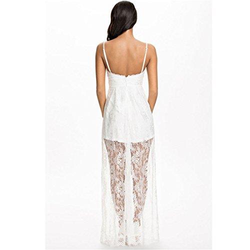 Z Weisser Spitze Neckholder-Frauen Abend-Cocktailparty aermellose Kleid  Langen Kleid Weiße ...