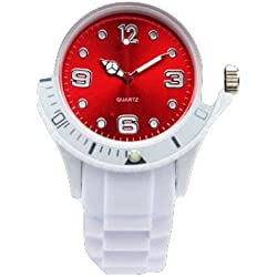 AccessoriesBySej 24 Colours - SMALL WHITE/RED 33mm CHILDREN'S KIDS GIRLS BOYS LADIES WOMENS SMALL 33mm QUARTZ SILICON /RUBBER STYLE JELLY SPORT WRIST WATCHES UNISEX DATE
