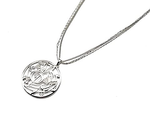 cl1197e Halskette Style Anhänger Kreis Durchbrochenes Noten Musik Strass Silber–Metallkette