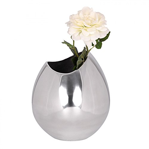 FineBuy Deko Vase groß BOWLE Aluminium modern mit 1 Öffnung in Silber | Hohe Alu Blumenvase handgefertigt | Große Dekovase für Blumen