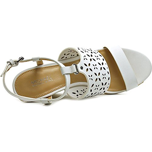 Michael Michael Kors Darci Wedge Leder Keilabsätze Sandale Optic White