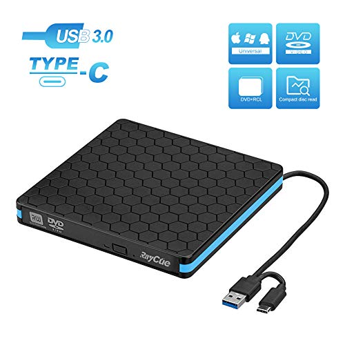 Externes DVD Laufwerk Type-C USB 3.0 Portable externer DVD Brenner Superspeed Externes CD Laufwerk USB Writer Reader Für Windows 10/7/8 Linux Laptops Desktop, MacBook Pro iMac (Schwarz)