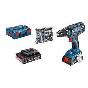 41z RiEfTdL. SS300  - Bosch Professional GSB 18V-28 System Taladro percutor, torsión máxima: 63 NM, Incl 35 pcs Juego de Accesorios de Impacto, 2X 2.0 Ah batería, en L-BOXX 136, Amazon Edición, 36 W, 18 V, Azul