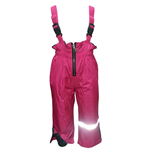 Outburst - Baby Mädchen Regenhose Matschhose Skihose Latzhose Fleecefutter wasserundurchlässig, Pink,Größe 116