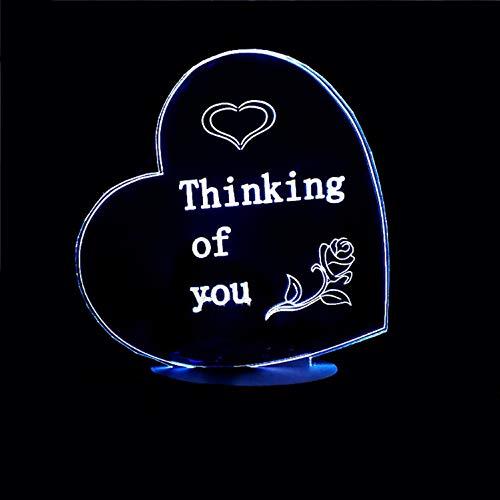 Wohnkultur 7 Farbwechsel 3D Romantische Herzform Schreibtischlampe Kreative Atmosphäre Nachtlicht Geben Freundin Valentine Usb Acryl Lampe