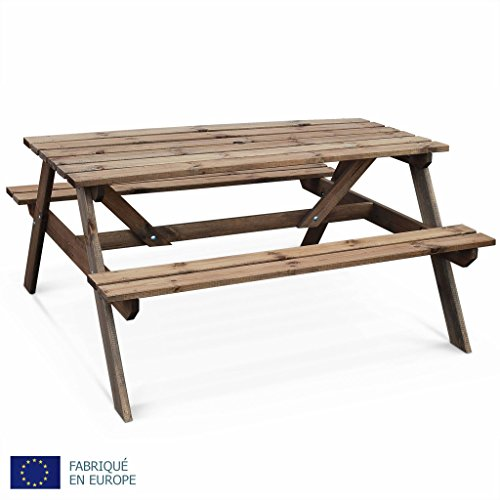 Alice's Garden - Table de Pique Nique en Bois 150cm - PADANO - Table de Jardin rectangulaire avec bancs en pin FSC, fabriquée en Europe