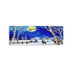 Idea Regalo - Jweal Natale tappeto antiscivolo, decorazione natalizia tappetino ad assorbimento per porte d'ingresso per cucina - Sala da pranzo - Decorazioni natalizie in stile Elk Pattern (60 * 180cm)