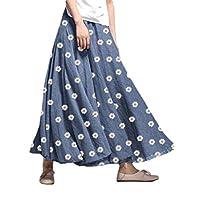 GAGA Women Elastic-Waist Floral-Print Casual Swing A-Line Long-Maxi Skirts Blue XL