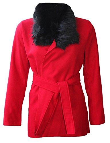 Belted Damen Trench Coat (Fashion Essentials-Frauen Kunstpelzkragen Wolle Cape Belted Trench Coat Jacket (ONE SIZE=8-14, RED))
