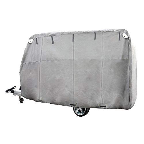 ECD Germany Funda de garage L 580 x 225 x 220 cm Lona para coche transpirable con elástico Cubierta complete para protección de caravana