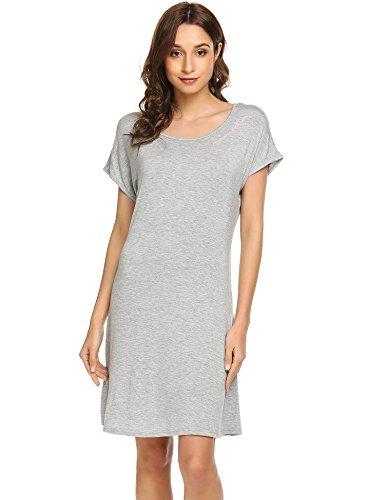 Ekouaer Damen Gemütlich Nachthemd kurzarm Sleepshirt Knielang Nachtwäsche Negligee (EU 40(Herstellergröße: L), Grau258) (Modal-jersey-kurz)