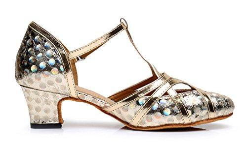 F&M Fashion ,  Damen Durchgängies Plateau Sandalen mit Keilabsatz 5cm Printing Gold