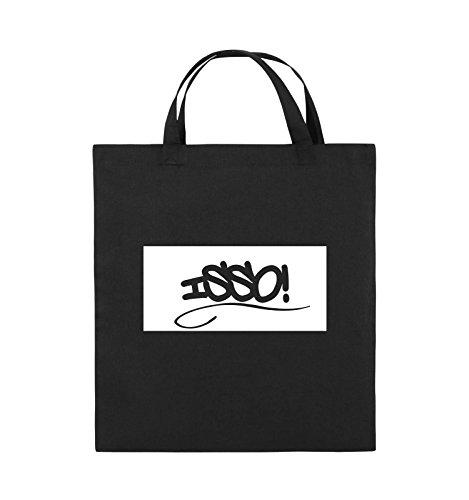 Comedy Bags - ISSO NEGATIV - Jutebeutel - kurze Henkel - 38x42cm - Farbe: Schwarz / Pink Schwarz / Weiss