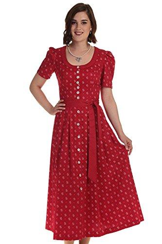 Moser Bekleidung Damen Kleider Trachtenkleid Steinbach mit Ärmel Baumwolldirndl in rot und blau