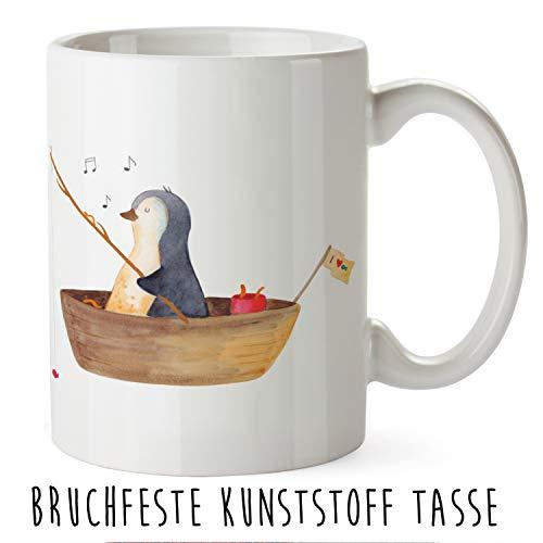 Mr. & Mrs. Panda Trinkbecher, Kaffeetasse, Kunststoff Tasse Pinguin Angelboot - Farbe Weiß