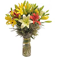 Floral Fantasy™ Fresh Flower Bouquet Arrangement For Mother's Day Gift (Bunch Of 8 Mix Lilies in Glass Vase)