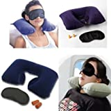 Snowpearl Multi Utility Tourist Treasures Travel Kit - Inflatable Neck Air Cushion Pillow with Eye Mask and 2 Ear Plugs (Assorted Color)