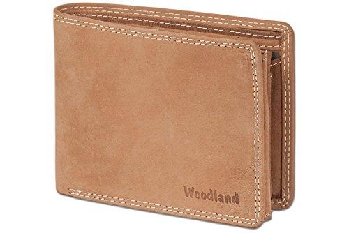 Woodland® - Riegelgeldbörse im Querformat aus naturbelassenem, weichem Büffelleder in Cognac, Beige (Beige Herren Geldbörse)