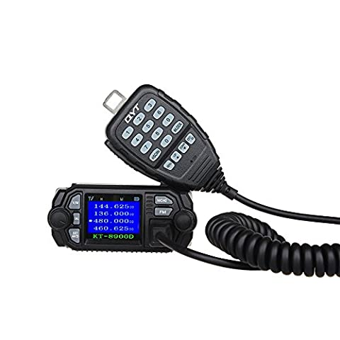 Uphig QYT KT-8900D Car Transceiver Double Bande VHF UHF Mini Écran Couleur Quad-Standy 25W / 20W Radio Walkie Talkie Radio FM Mobile avec un Câble pour la Programmation