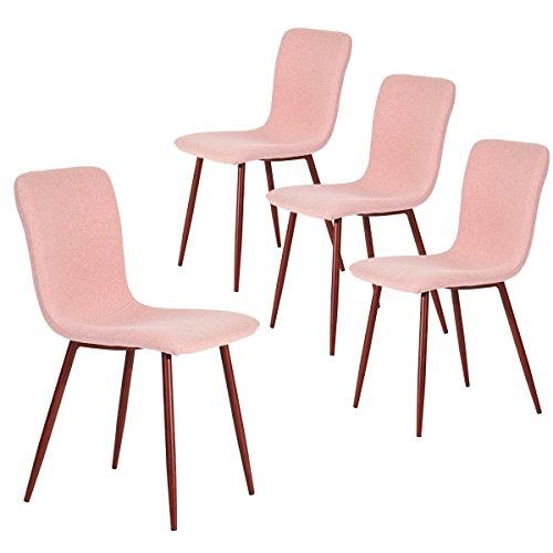 Coavas Esszimmerstühle 4er Set Küchenstühle Schöne Form Bequeme Stühle mit stabilen Metallbeinen für Esszimmer, Rosa -