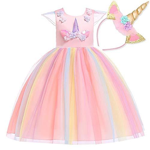 NNDOLL Mädchen Einhorn Rüschen Blumen Party Cosplay Kleid Brautkleid Prinzessin Rosa 100 2-3 Jahre