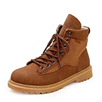 Plus Velvet Tactical Boots Lightweight Breathable Military Boots Hiking Shoes Comfortable Wear Tooling Boots Street Retro Wind Martin Boots Fashion Classic Non-slip (Color : Yellow, Size : 43)