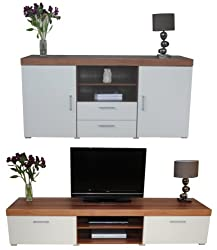 Sydney White & Walnut 2 Metre TV Cabinet & Large Sideboard Unit Living Room Furniture Set