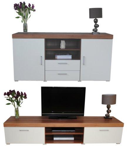 White & Walnut Sydney 2 Metre TV Cabinet & Large Sideboard Unit Living Room Furniture Set