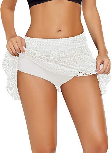 YAOMEI Damen Badeshorts Bikinihose Shorts Trunks Badeanzug Bauchweg Badekleid mit Rock Tankinis Bikini Slip Beachwear, Boyleg Stil Spitzenüberlagerung (L, Weiß)