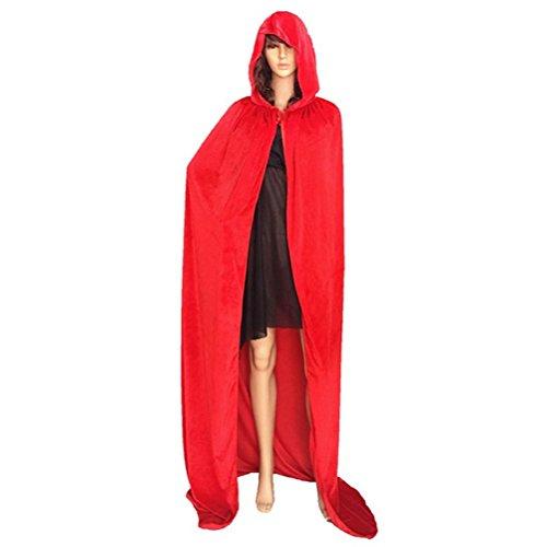 Fixuk Adult Mann Frauen verwenden Halloween Mantel Hooded Stock-length Cape Witch Robe Cosplay Kostüm für (Mantel Length Roten Floor)