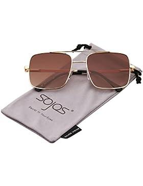 SojoS Gafas De Sol Rectagular Unisex Hombre Mujer Doble Puntes Metal Gafas SJ1088 SJ1089