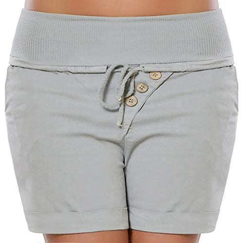 WOZOW Shorts Kurze Hose Damen Solid Kordelzug Zug Tie Short Freizeithose Slim High Waist Tunika Elastisch Elastic Casual Straight Leg Mini Trousers Summer (Old School Halloween Kostüme Box)