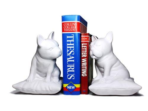 Serre Livres Chien Bulldogs Design en Résine - blanc