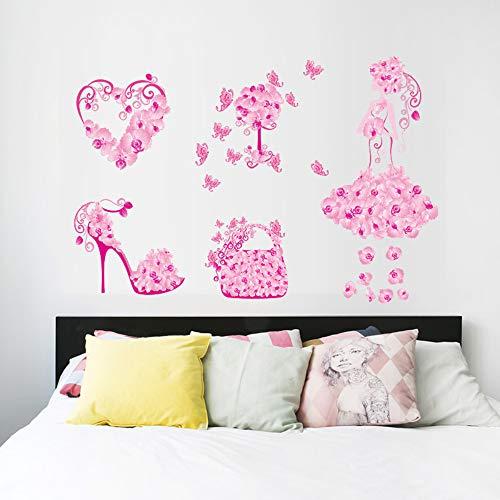 Fai da te fiore ragazza scarpe borsa finestra negozio decorazione ragazze bambini camera da letto adesivi murali decorazioni per la casa decalcomania murale carta da parati