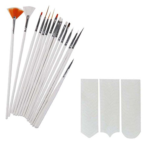 FOK 15 pc Nail Art Brush Set And 1 Pc French Manicure Nail Art Tip Sticker  available at amazon for Rs.239