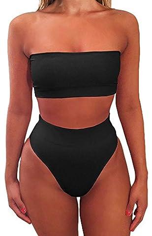 EmilyLe Femme Maillot de bain 2 Pièces Bikini Bandeau Uni avec slip brésilien taille haute EU40-42