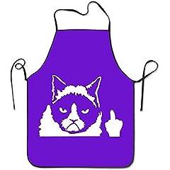 Idea Regalo - Grembiule freddo della cucina del gatto del dito medio, cinghia regolabile del grembiule popolare della cucina del cuoco unico per la cottura, cuocere, preparando, facendo il giardinaggio, BBQ