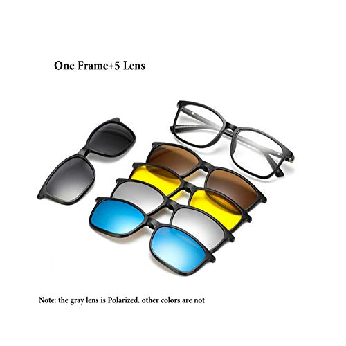 FGRYGF-eyewear2 Sport-Sonnenbrillen, Vintage Sonnenbrillen, 5 Lens Magnet Sunglasses Clip Mirrored Clip On Magnetic Sunglasses Clip On Glasses Männer Polarized Clip Custom Prescription Myopia 2264