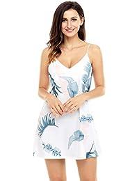 EOZY Robe Lingerie Jupe Courte Cuisse Bretelle Col v Jupette Skirt Cocktail Femme
