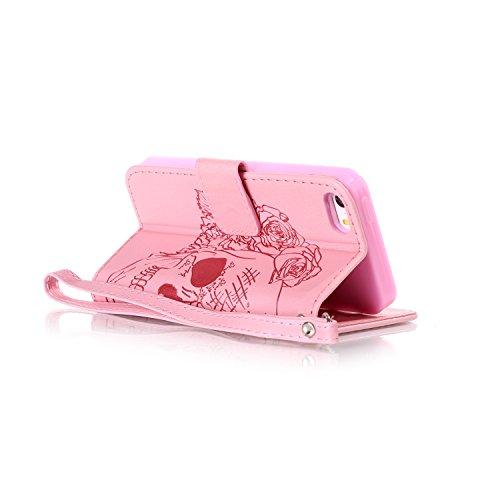 Aeeque Pelle Artificiale Rosa Custodia per iPhone 5/5S/SE (4.0 pollici) Borsetta Cover Case Funny Modello Cranio e Fiori Flip Custodia Protettiva con Supporto di Stand e Porta Carte di Credito B - Cranio e Fiori Rosa