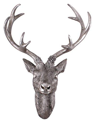 Spetebo Hirschgeweih 10 Ender - Wand Deko in Silber Optik 61x50 cm - Hirschkopf Skulptur Jagd Geweih