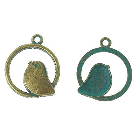 Paket 10 x Antik Bronze/Türkis Tibetanische 25mm Charms Anhänger (Vogel) - (ZX05260) - Charming Beads