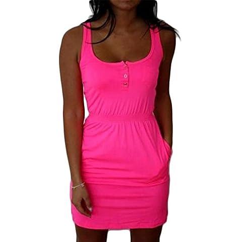 Frauen Mode Rundkragen ärmellos Taille Elastisch Beiläufige Vest Kleid Minikleid