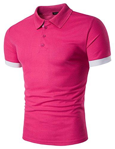 Boom Fashion Mode Herren Poloshirt Beiläufig Kurzarm Stehkragen M - XXL Rosa
