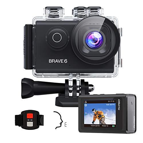 AKASO Brave 6 Action Cam 4K 20MP WiFi Sprachsteuerung EIS Anti-Shake 30 Meters wasserdicht Unterwasserkamera Fernbedienung 6X Zoom Sports Helmkamera mit 2 Batterien und Helmzubehör-Kit