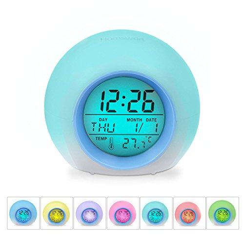 HAMSWAN JL-C018 7 Farben Ändern Wecker Natur Tüne Eine Tap Control Schlaf-Friendly mit Innentemperaturanzeige für Arbeit Eltern, Studenten etc (Hellblau)