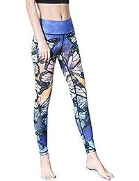 JUNMAONO Mujer de Pantalones Yoga Pilates Fitness Leggings Deportivas  Largos Pantalone Elástico Impresión Cintura Alta Rectos ea4b77a2f2d4