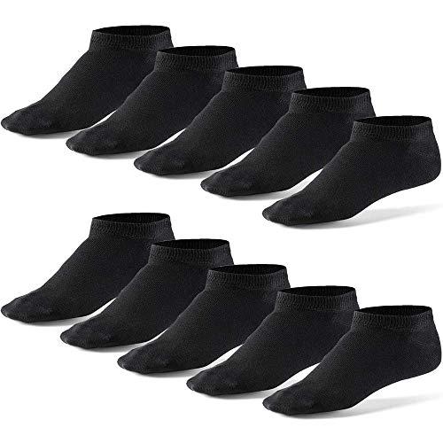 10 Paar Sneaker Socken Damen & Herren Schwarz & Weiß Baumwolle, Cotton classic bequem ohne drückende Naht - angenehmer Komfort-Bund  Schwarz L(44-48) -